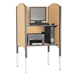 Adjustable Height Kiosk Carrel with CPU Shelf, 13743