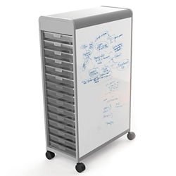 26 Tote Mobile Two-Sided Whiteboard Storage Unit, 37416