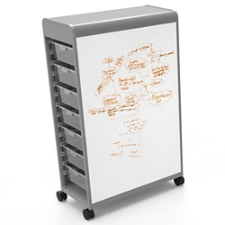 14 Tote Mobile Two-Sided Whiteboard Storage Unit, 37415