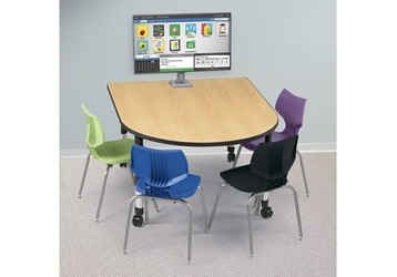 "Adjustable Height Medium Size Media Table with Two Outlets - 60"" x 48"", 46679"