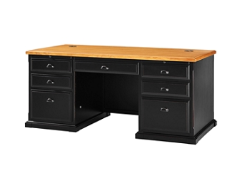 "Distressed Black and Oak Executive Desk - 69""W, 16008"
