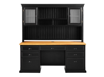 "Distressed Black with Oak Top Desk with Hutch - 69""W, 16011"