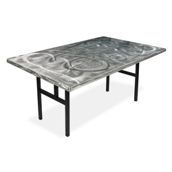 "Aluminum Swirl Table with H Legs -  72"" x 36"" , 41872"