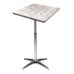 "Aluminum Swirl Adjustable Height Square Table -  36""W, 41879"