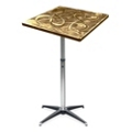 "Aluminum Swirl Adjustable Height Square Table -  30""W, 41876"