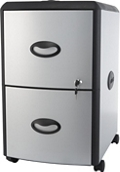 "Letter-Sized Two Drawer Mobile Filing Cabinet - 15""W, 37186"