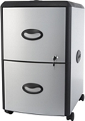 "Deluxe Letter-Sized Two Drawer Mobile Filing Cabinet - 15""W, 37187"