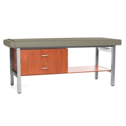 H Brace Treatment Table with Drip-Edge and Shelf and Drawers, 25956