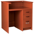 "Circulation Desk with Counter and Lockable Right Drawers - 42""W x 30""D, 10028"