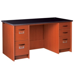 "Circulation Desk with Lockable Double Pedestals - 60""W x 30""D, 10058"