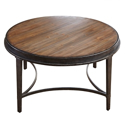 "Round Coffee Table with Metal Base - 36""W, 46258"