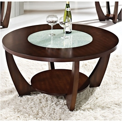 "Round Coffee Table with Glass Insert - 39.5""DIA, 46263"