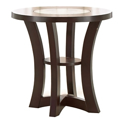 "Round End Table with Inlaid Glass Accent - 24""DIA, 46273"