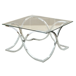 """Square Glass Top Coffee Table with Curved Frame - 36""""W, 46278"""