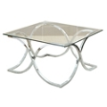 "Square Glass Top Coffee Table with Curved Frame - 36""W, 46278"