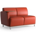 Two Seat Fabric Lounge Chair with Right Tablet Arm, 53047