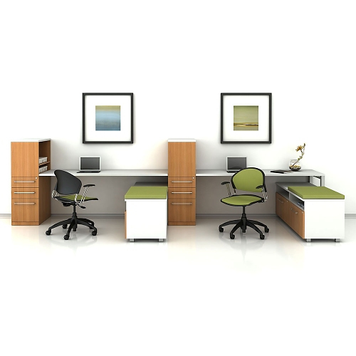 Trendway Two Workstation Set Chocolate Pear Top and Front Panels/Designer White Frame/Coffee Bean Fabric Cushion/Platinum Trim