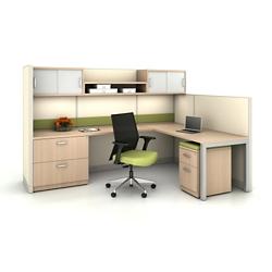 L-Desk Workstation with Overhead Storage, 20178