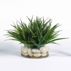 "Faux Grass in Glass Container - 12""H, 82345"