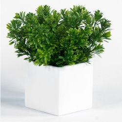 "Artificial Foliage in Metal Cube - 10""H, 82352"