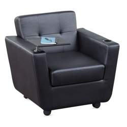 New York Faux Leather Club Chair with Tablet Arm, 76314