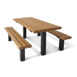 In-Ground Pedestal Table and Bench - 6 ft, 41791