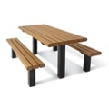 Surface Mounted Pedestal Table and Bench - 6 ft, 41790