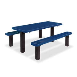 Surface Mounted Thermoplastic Pedestal Table and Benches - 6 ft, 41794