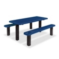 Surface Mounted Thermoplastic Pedestal Table and Benches - 8 ft, 41796