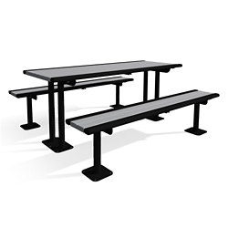 In-Ground Mounted Recycled Lumber Table and Benches - 6ft, 82442