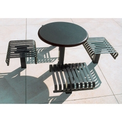 "Outdoor Breakroom with 4 Seats and 36"" Round Table - Inground, 85144"