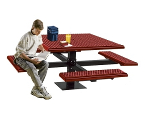 Square Perforated Picnic Table with Surface Mount, 85805