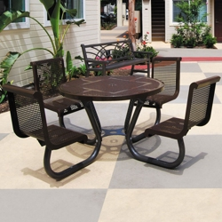 "Round Perforated Outdoor Table - 46"", 86297"
