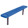 Backless In-Ground Mount Perforated Steel Bench - 6'W, 87853