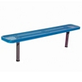 Backless In-Ground Mount Diamond Pattern Steel Bench - 10'W, 87874