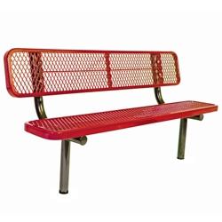 In-Ground Mount Diamond Pattern Steel Bench - 6'W, 87893