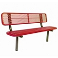 In-Ground Mount Diamond Pattern Steel Bench - 6'W, 87893