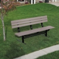 Surface Mount Recycled Plastic Lumber 8 ft Bench, 91983