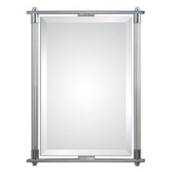 "36""H x 26""W Rectangular Ribbed Glass Frame Mirror, 90016"