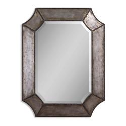 "31.75""H x 24""W Hammered Aluminum Frame Mirror, 90032"