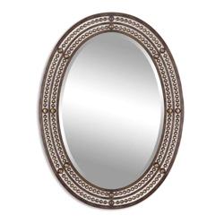 "34""H x 24""W Oval Bronze Beaded Frame Mirror, 90033"