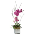 "Faux Kaleama Orchids in Mirrored Cube - 15""W x 38""H, 90112"