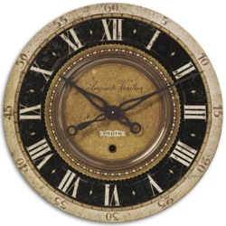 "27"" Antiqued Brass Hanging Clock, 87599"