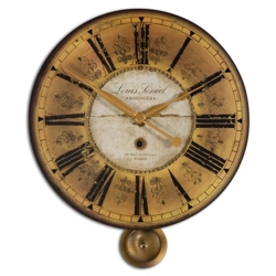 "23.75""Dia Gold Decorative Hanging Clock, 87602"