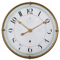 "31.5""Dia Pale Blue Edged Hanging Clock, 87607"