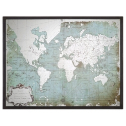 "Mirrored World Map 44""W x 33""H, 87742"