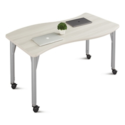 "Agile Mobile Curve Adjustable Height Table - 60""W x 30""D, 46881"