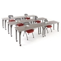 Agile Rectangular Mobile Adjustable Height Table Set, 46883