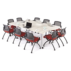 Agile Small Curve Mobile Adjustable Height Table Set, 46886