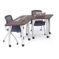 Agile Set of Two Trapezoid Mobile Adjustable Height Tables, 46889